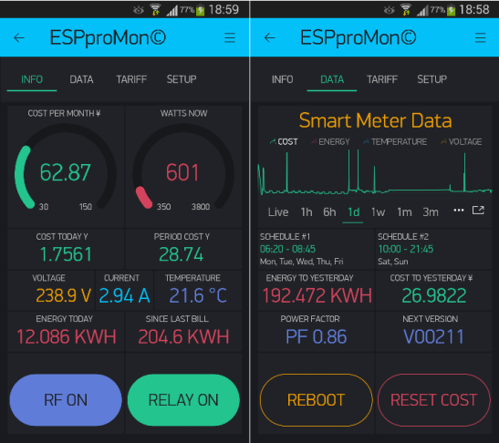 ESPproMon© Smartphone App Info and Data Tabs